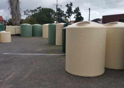 Recently manufactured polytanks ready for delivery in Sturt - an Adelaide suburb