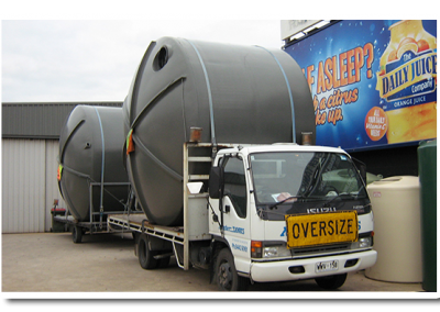 Polyethylene Water Tanks ready for delivery to a client's factory in Ingle Farm - an Adelaide suburb
