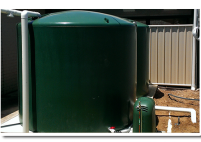 Round rainwater tank supplied by us for a client in Glenelg - an Adelaide suburb